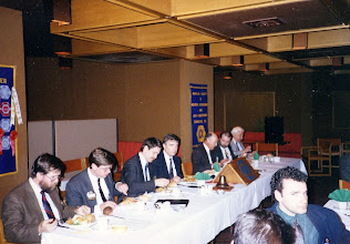 Photo: Head Table - Dave Eastwood, Pierre DeGagne, Ross McIntyre, Neil Armstrong, Cliff Thompson (Region II Histrorian), ?, ?;  foreground - Frank Bann