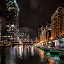 Chicago at Night by John Williams - City,  Street & Park  Night ( night lights, cityscape, chicago, architecture, river, nightscape )