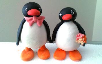 Photo: Mr and Mrs Pingu Custom edible cake topper