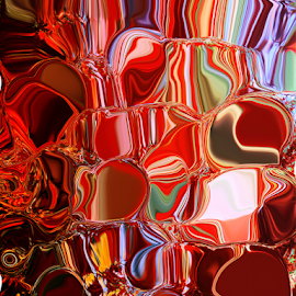 Red Glass by Edward Gold - Digital Art Abstract ( digital photography, red glass, abstract, blues green tans, colorful, digital art,  )