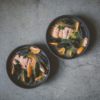 Miso Poached Salmon with Mussels and Herbs