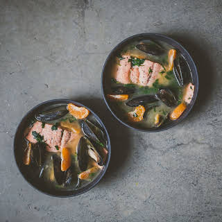 Miso Poached Salmon with Mussels and Herbs.
