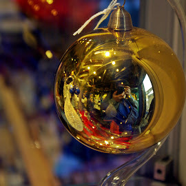 Self portrait by Ciprian Apetrei - Public Holidays Christmas ( reflection, decoration, christmas, brittany, globe )
