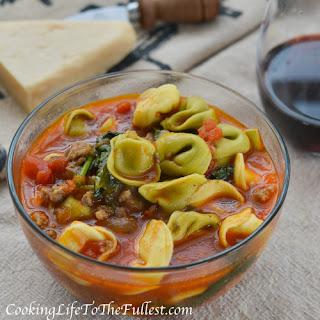 Italian Sausage, Spinach & Tortellini Tomato Soup
