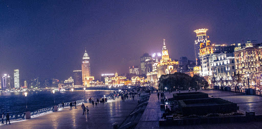 Bund-waterfront-Shanghai - A nighttime view of the Bund along the Huangpu River waterfront in the Lan Ni Du District of Shanghai, China.