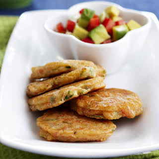 Salmon and Zucchini Fritters with Avocado Salsa.