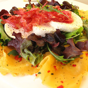 Egg Circles with Crispy Bacon Salad