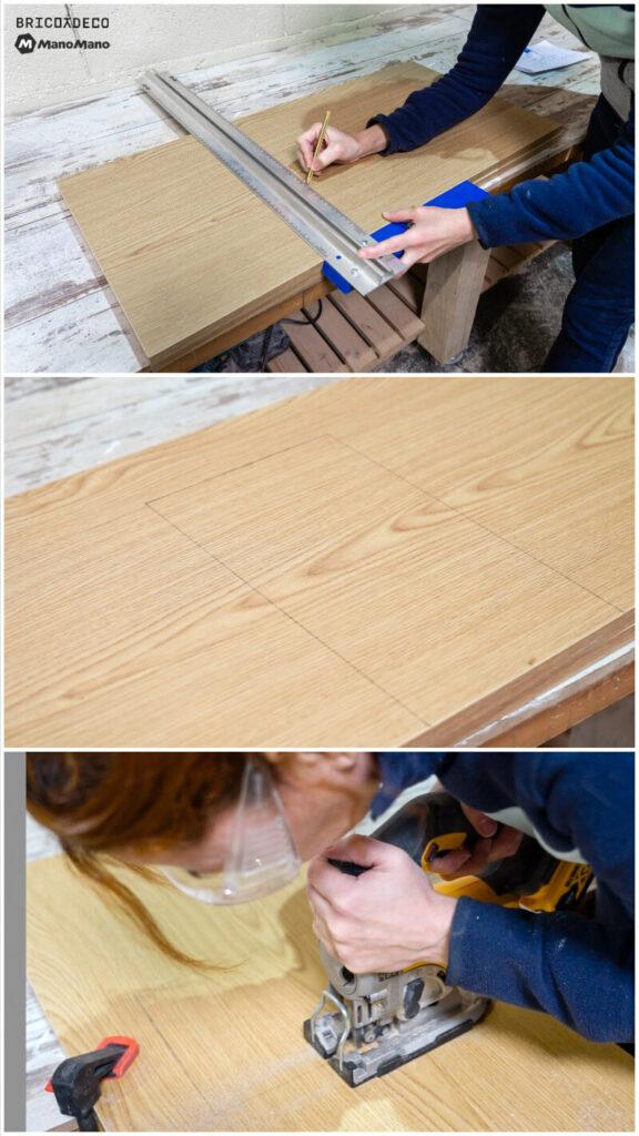 marcar y cortar el tablero de melamina