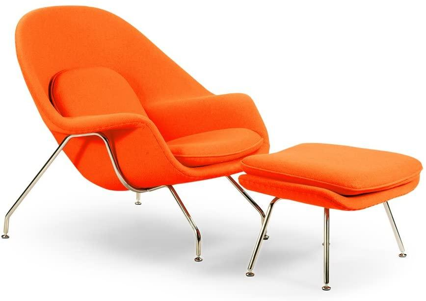 comfortable reading orange womb chair