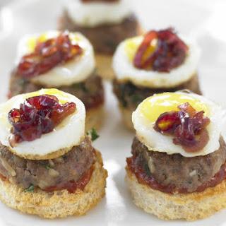 Mini Sliders with Fried Quail Eggs and Onion Marmalade