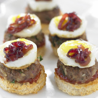 Mini Sliders with Fried Quail Eggs and Onion Marmalade.