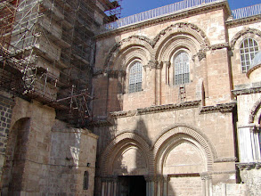 Photo: An outside entrance to the church.  We visited here three times while in Jerusalem.