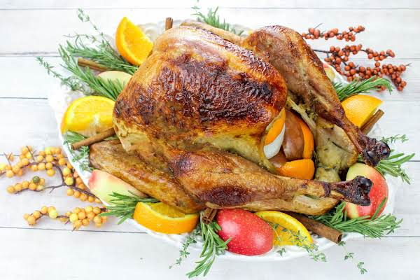 Roasted Turkey Prepared With An Apple Turkey Brine.