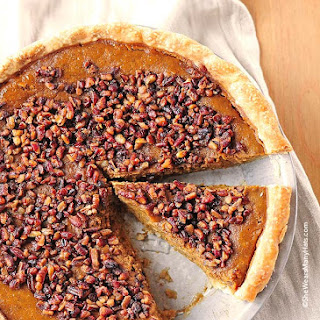 Pumpkin Pie with Toasted Pecan Praline Topping