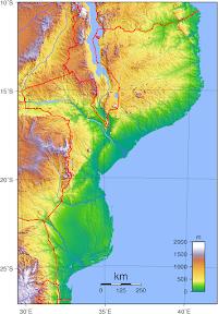 Mapa topográfico de Mozambique