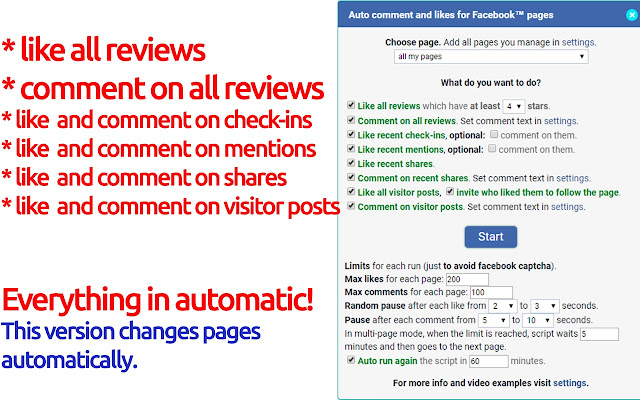 Auto comment and likes for Facebook™ pages