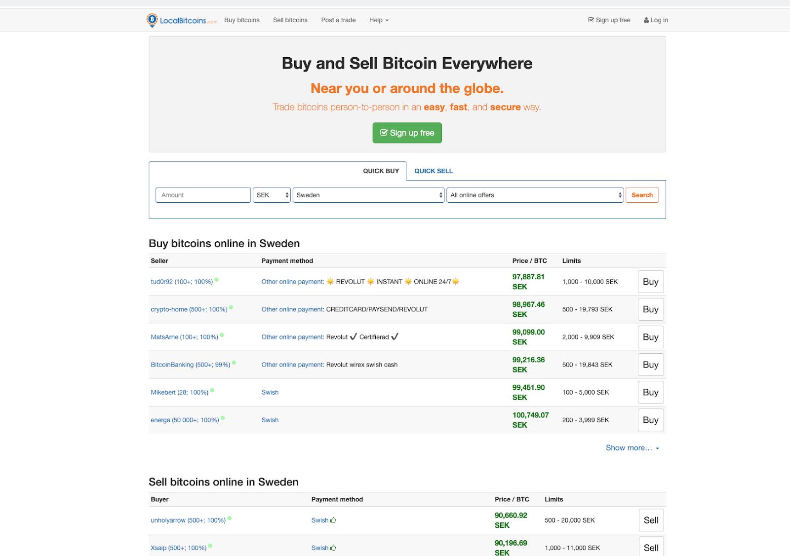 LocalBitcoin screenshot