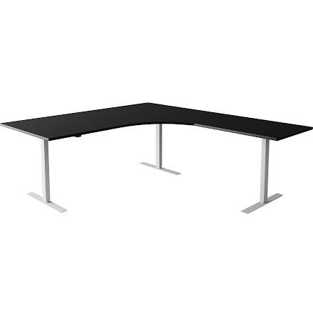 Hörnskrivbord el silver/svart