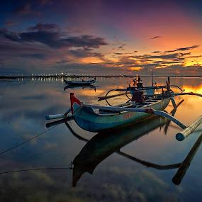 Blue Jukung by Bayu Adnyana - Transportation Boats ( bali, boats, beach, sunrise, transportation, boat )