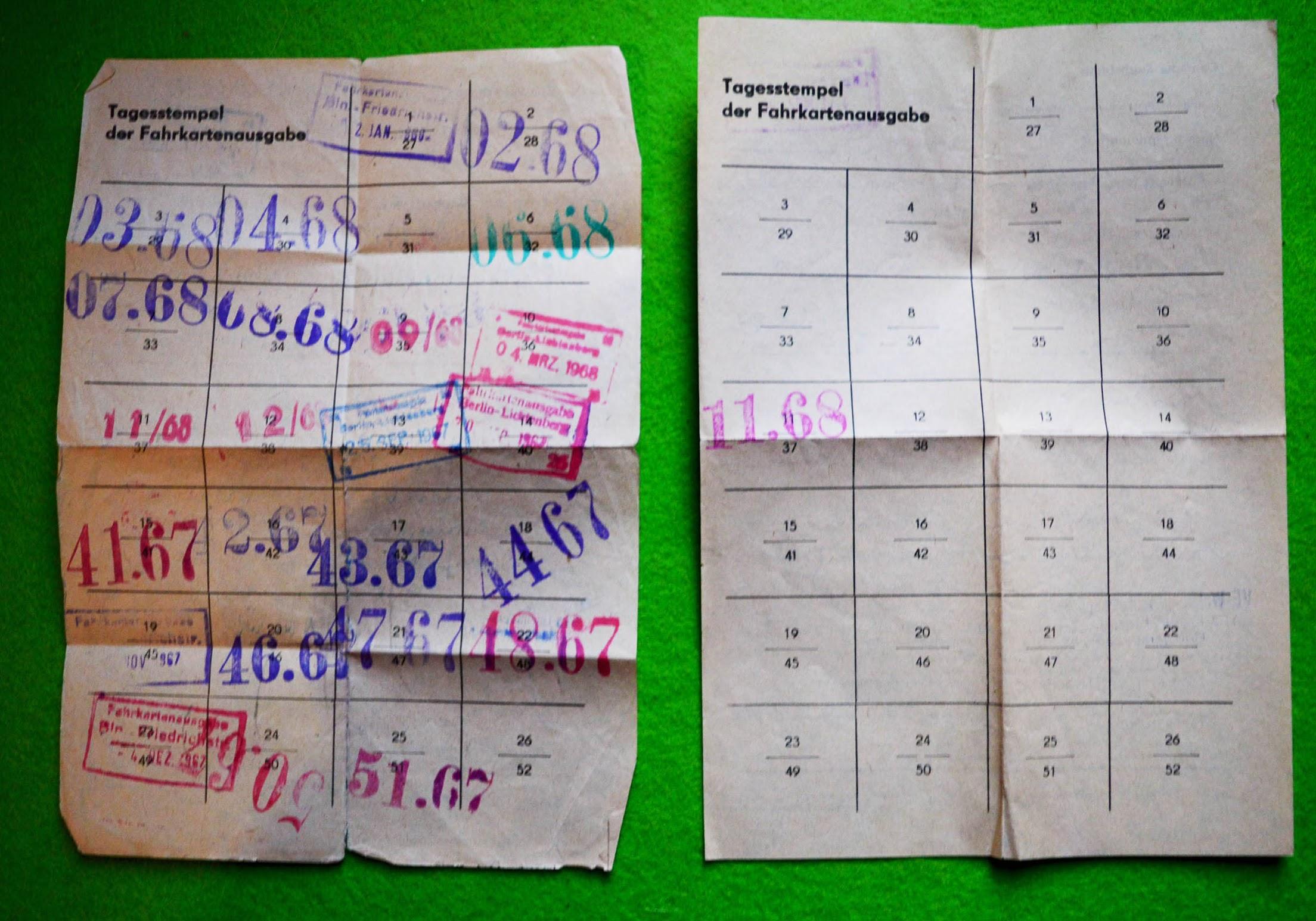 Arbeitermonats- und Arbeiterwochenkarten - DDR 1967, 1968
