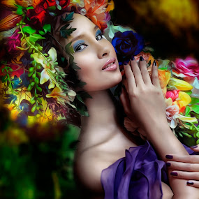 Water Goddess by Don Davies - People Fine Art ( water, woman, colors, flowers, portrait,  )
