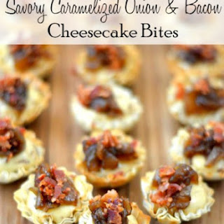 Caramelized Onion Bacon Cheesecake Bites