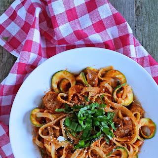 Creamy Tomato Basil Fettuccine with Zucchini & Spicy Italian Sausage