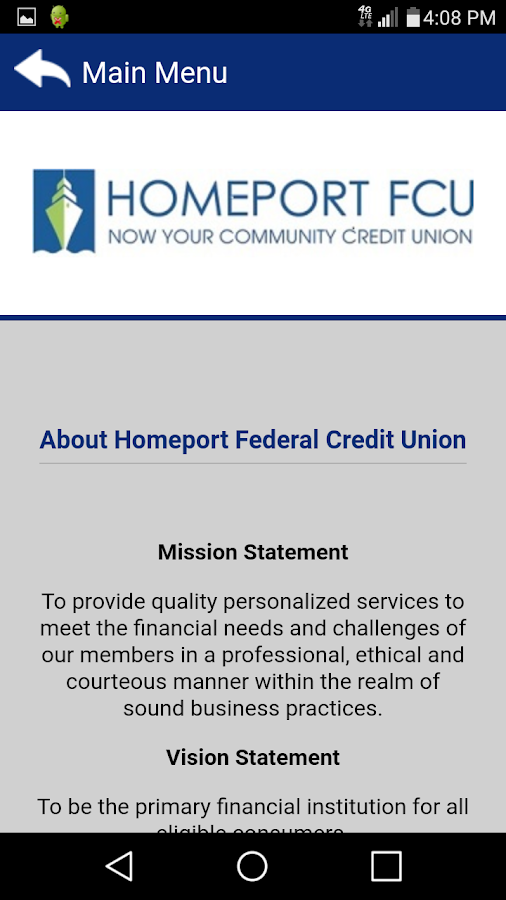 Homeport FCU Mobile Banking- screenshot
