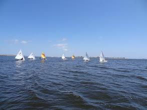 Photo: full fleet at the windward mark