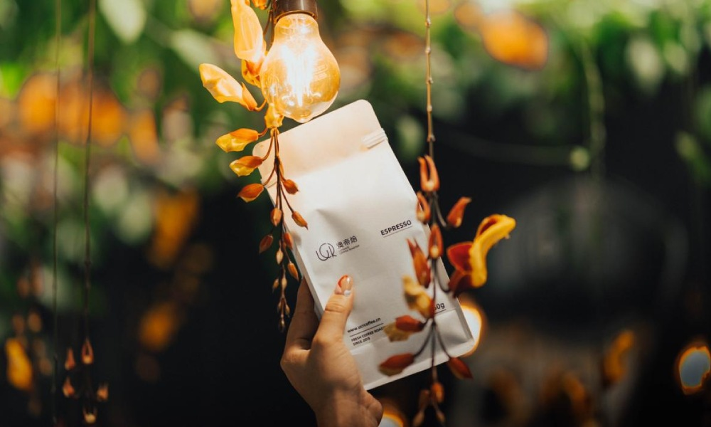 recyclable coffee bag held up to the light