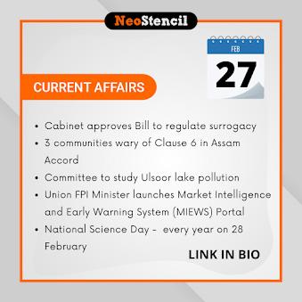 Daily Current Affairs - February 27, 2020 (The Hindu, PIB, Fact Pedia)