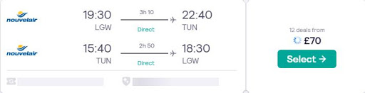 Non-stop from London, UK to Tunis, Tunisia for only £70 roundtrip