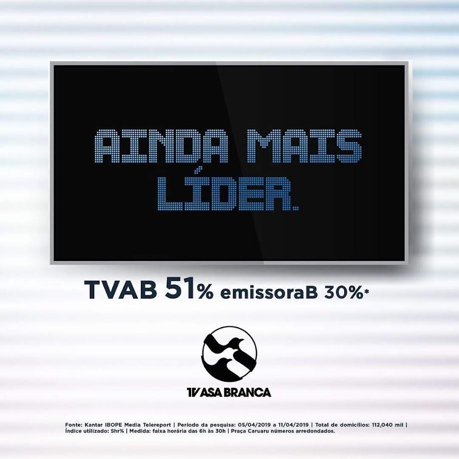 Anúncio da TV Asa Branca/Globo para justificar a liderança no interior de Pernambuco