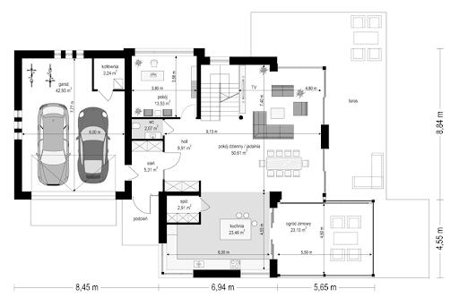 Dom z widokiem 6 B - Rzut parteru