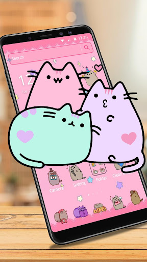 Pusheen Cat Lovely Pink Theme download 2
