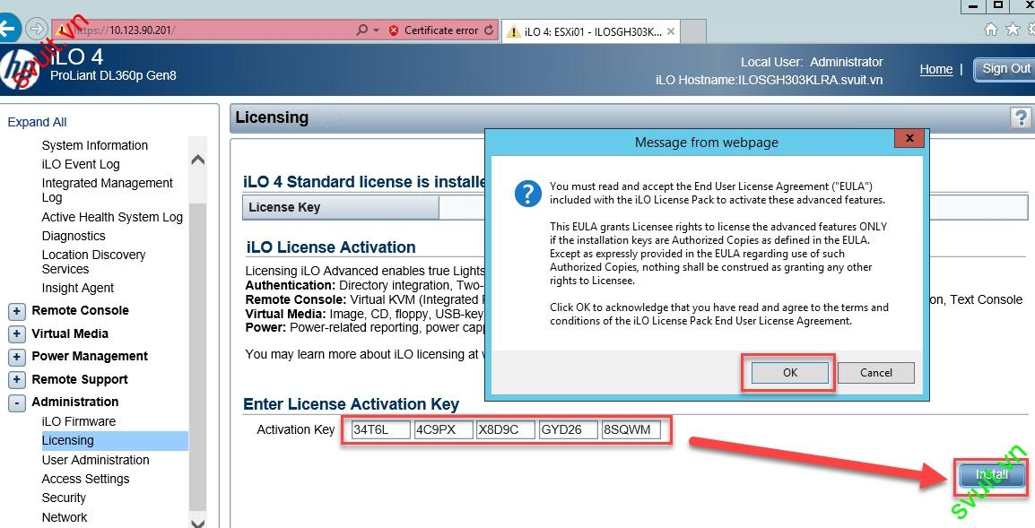 HPE - How to Active HPE iLO 4 license key