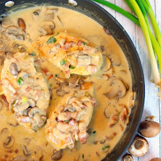 Creamy Skillet Chicken with Mushrooms & Bacon.