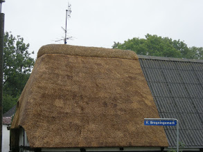 Photo: A partial thatched roof on Aero--8/23/08
