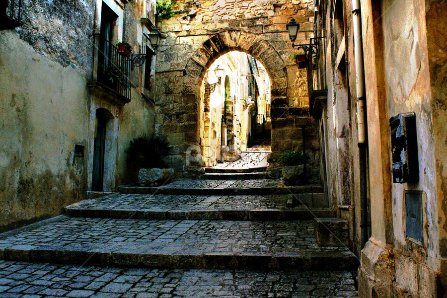 Chiaramonte Gulfi ~ Arco dell'Annunziata by Pieter Arnolli - City,  Street & Park  Street Scenes ( europe, medievale, street, travel, italy, sicily )