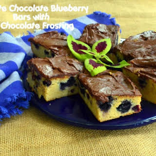 White Chocolate Blueberry Brownies with Dark Chocolate Frosting.