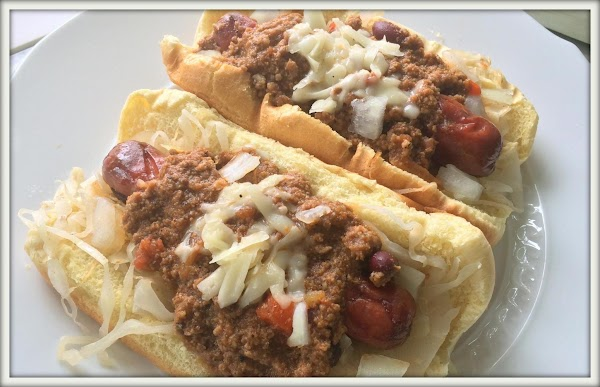 March 7th, 2016 --- I added some braised kraut, swiss cheese, onions & chili...
