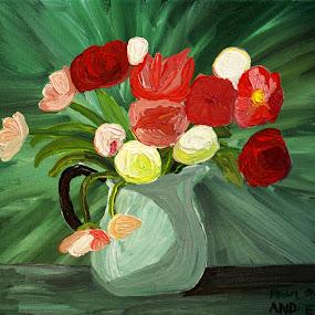 flowers by Paul Robin Andrews - Painting All Painting ( vase, art, jug, flowers, oil painting )