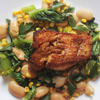 Pan-Seared Cod with Corn, Butter Beans, and Butter Lettuce.