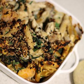 Creamy Artichoke, Spinach and Butternut Squash Penne Bake [Vegan - No Oil].