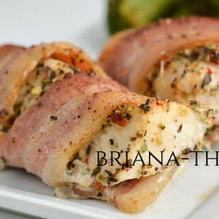Bacon Wrapped Mediterranean Chicken.