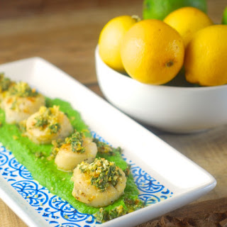 Seared Scallops with Pea Purée and Mint Gremolata