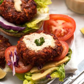 Veggie Burger with mustard dresssing.