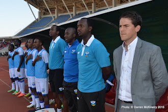 Photo: Coach McKinstry and Technical team during national anthem [Rwanda Amavubi v Mozambique 14 June 2015 (Pic © Darren McKinstry / www.johnnymckinstry.com)]
