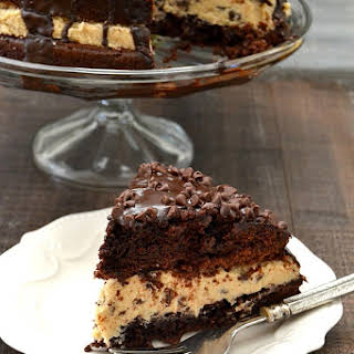 Chocolate Chip Cookie Dough Brownie Bomb Cake.