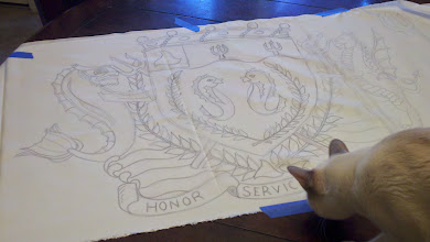 Photo: Line drawing for the resist-method banners with complete achievement of arms.
